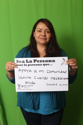 Apoya a mi comunidad latina cuando necesitan ayuda. (Supporting my Latino community when they need help.) - Yolanda R., San Mateo